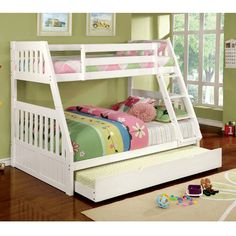 Features:  -Attached ladder.  -Reinforced rail design for upper bunk.  -Mission style slats for headboard and footboard.  -Mattress ready.  -Bed requires 1 full-size mattress and 1 twin-size mattress.