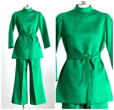 1960s emerald green tunic pants suit by TimeTravelFashions on Etsy