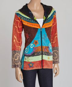 Look what I found on #zulily! Brown & Turquoise Patchwork Zip-Up Hoodie #zulilyfinds