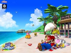Super Mario Sunshine... the third Mario game (first 3D Mario Game) I ever played aside from Mario Party 4 & 5. Ah, good times! Too bad I never finished it...