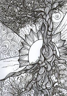 Tree of Life Zentangle.will use this idea for my next Zentangle ispiration! Doodle Drawing, Mandalas Drawing, Zentangle Drawings, Zentangle Patterns, Zentangles, Doodle Art, Art Drawings, Zen Doodle, Doodle Trees