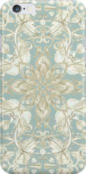 Soft Sage & Cream hand drawn floral pattern by micklyn