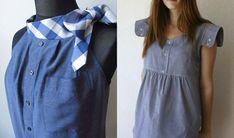 Платье из рубашки с интересными деталями