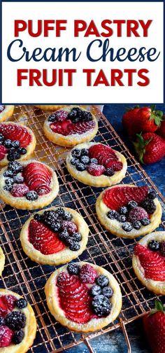 Easy Gluten Free Desserts, Delicious Desserts, Yummy Food, Easy Fruit Desserts, Easy Fruit Tart, Mini Fruit Tarts, Individual Desserts, Party Desserts, Mini Desserts