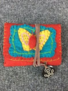 Vintage Hand Stitched Cloth Butterfly Tobacco Cigarette Pouch Case Wallet Holder