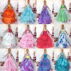 """NK 11 Articles = 5 Pcs Mix Style De Mariage Robe Princesse Robe + 6 Pcs De Mode En Plastique Chaîne Collier Pour Barbie Poupée meilleur L'enfant """"cadeau"""
