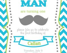 Invitación de cumpleaños de Bash de bigote por DesignsToInvite