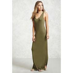 Forever21 Racerback Maxi Dress ($10) ❤ liked on Polyvore featuring dresses, olive, olive maxi dress, slit maxi dress, scoop neck maxi dress, racer back dress and rayon dress