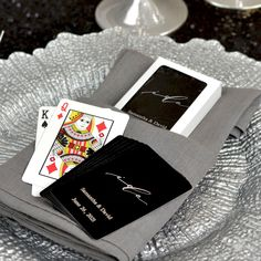 Make your wedding day game playing personal with these standard size coated playing cards personalized with your choice of wedding design and two lines of custom print in 11 foil imprint color options. Add a deck of cards to hotel welcome bags to complete your custom look or use them as the perfect favor that entertains by placing a deck at each place setting, or stack them on your favor table for easy access. Wedding Gift Bags, Wedding Pins, Wedding Cards, Wedding Favors, Party Favors, Wedding Ideas, Custom Printed Playing Cards, Personalized Playing Cards, Small Thank You Gift