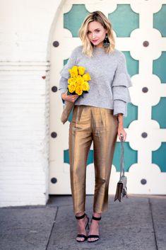 GOLDDIGGER Liz Cherkasova at Late Afternoon: grey woolen sweater, golden metallic pants, ankle-strap heels