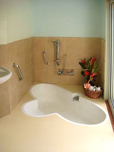Sunken bath shower combo with steps house planning type for How to build a sunken bathtub