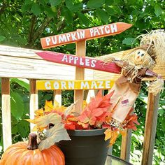 Scarecrows, Pumpkins, and Mazes- Oh My! Fall Crafts, Holiday Crafts, Stencil Wood, Porch Decorating, Decorating Ideas, Fall Pillows, Fall Candles, Cute Pumpkin, Pallet Art