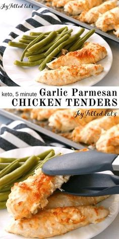 Five Minute Garlic Parmesan Chicken Tenders - Low Carb, THM S, Grain Gluten Free, Keto - It can be difficult to make simple staples taste good quickly. My Five Minute Garlic Parmesan Chicken Tenders do just that. With a five minute prep time, you can pop Parmesan Chicken Tenders, Garlic Parmesan Chicken, Keto Chicken, Recipe Chicken, Broil Chicken, Chicken Menu, Chicken Eating, Gluten Free Chicken, Chicken Nuggets