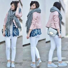 Read all of the posts by fresshion on fresshion Outfit Posts, My Outfit, Outfit Of The Day, Pink Grey, Baby Blue, White Jeans, Leather Jacket, Pastel Colours, Grey Scarf
