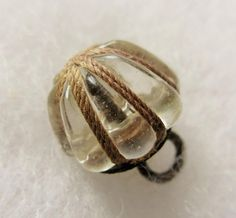 #ButtonArtMuseum.com - Special Old Antique~ Vtg 19th C Molded Clear GLASS Charmstring BUTTON w/ Thread