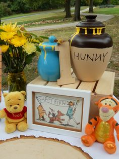 """Happy Birthday"" winnie the pooh decorations hunny pots tigger too classic pooh art 1st Birthday Boy Themes, Baby Girl First Birthday, 1st Birthday Girls, Boy Birthday Parties, Birthday Celebration, Birthday Ideas, Happy Birthday, Winnie The Pooh Decor, Winnie The Pooh Birthday"
