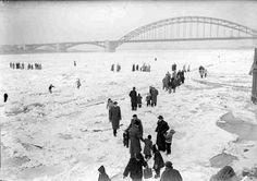 "The frozen river ""de Waal"" Zeppelin, Snow And Ice, Old City, Sydney Harbour Bridge, Winter Time, Ice Skating, Winter Wonderland, Netherlands, Holland"
