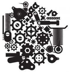 Cogs Cranks & Springs Vector Graphics - http://www.dawnbrushes.com/cogs-cranks-springs-vector-graphics/