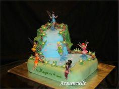 Gâteau fée clochette cascade 3D