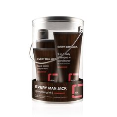 A cool - and 100% CRUELTY FREE - Christmas gift for any man!  Every Man Jack | grooming kit | cedarwood:  Hydrating Body Wash, 2-in-1 Daily Shampoo + Conditioner and soothing face lotion with a refreshing Cedarwood fragrance, and a fragrance free lip balm complete with SPF 15. All neatly packed in a unique, reusable pail.