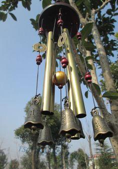 Beautiful Amazing 4 Tubes  Bronze Yard Garden Outdoor Living Wind Chimes 65cm #unbrand