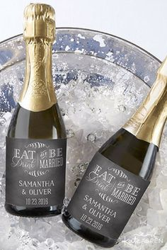 Personalized Mini Wine Bottle Labels - Eat Drink & Be Married Mini Wine Bottles, Wine Bottle Labels, Glass Tea Light Holders, Votive Holder, Mercury Glass, Tea Lights, Champagne, How To Memorize Things, Blush