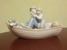 Vintage Meico Porcelain Boat, Grandpa Fishing With Grandson And Family Dog