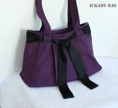 In Stock  Purple Purse Canvas Bag Tote Bag Shoulder by ickadybag, $35.00