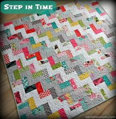 Combine a collage of colors with an easy rail fence quilt pattern to create the Step in Time Quilt. What makes this pattern so valuable is its versatility.