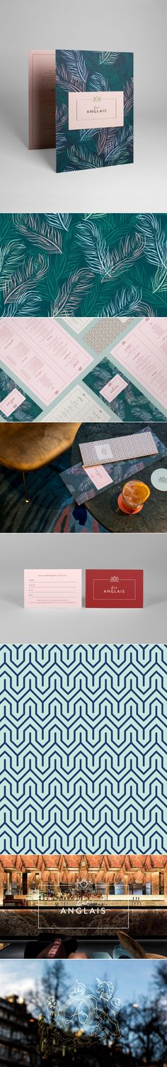 Bar Anglasis' branding features a beautiful customised hand drawn pattern and typography to give this identity a sense of character that it in keeping with the aim of portraying 1960s luxury. All in all, the elements are well balanced and this has been achieved through the use of clean, contemporary, sans-serif type on the menus and clean lines on the logo. Bar Anglais - 25AH