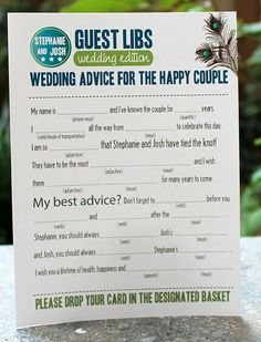 Idea for reception, put our own spin on it. something to keep the guests entertained, and plus I LOVE madlibs :)