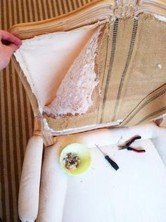 How To: Reupholster a Bergere Chair — Little Green Notebook Furniture Projects, Furniture Makeover, Diy Furniture, Chair Makeover, Furniture Refinishing, Furniture Upholstery, Painted Furniture, Reupholster Furniture, Upholstery Tacks