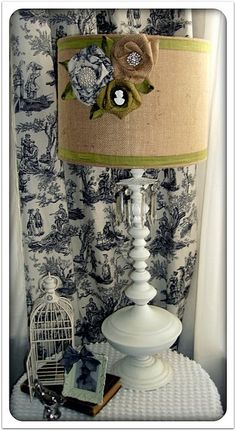Lampshade with burlap, toile, rolled flowers, dupioni silk and brooches (cameos)