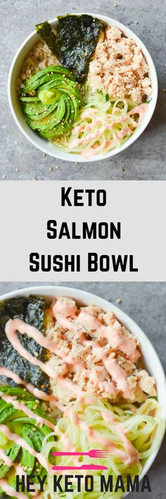 This Keto Salmon Sushi Bowl is a spicy low carb dish created to restore hope to all of the sushi lovers who have gone Keto. | heyketomama.com