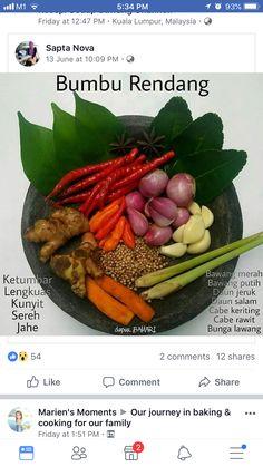 Bumbu rendang Halal Recipes, Easy Healthy Recipes, Asian Recipes, Cooking Recipes, Sambal Recipe, Malay Food, Indonesian Cuisine, Malaysian Food, Masala Recipe