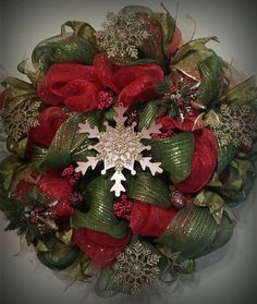 Christmas Deco Mesh Wreath, Red and Green Metallic Mesh, Custom Front Door Decor, hand painted wooden snowflake, Rustic winter door hanger