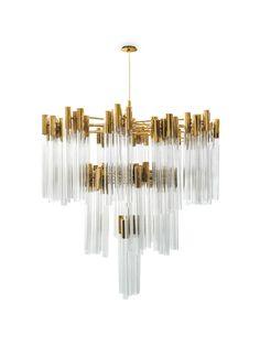 Burj chandelier is inspired in one of the most stunning hotel in the world, the Burj Al Arab. #chandelier #lightingdesign #moderndesign luxury homes, luxury design, luxury lighting . See more inspirations at www.luxxu.net