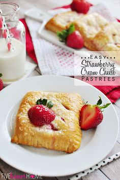 Flaky crescent roll dough is wrapped around a filling of cream cheese and fresh sliced strawberries in these quick and easy breakfast pastries. Ingredients: 4 ounces cream cheese, at room temperatu… Easy Desserts, Delicious Desserts, Dessert Recipes, Yummy Food, Breakfast Recipes, Fruit Recipes, Snack Recipes, Cream Cheese Pastry, Cream Cheeses