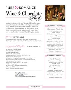 Wine & Chocolate Pure Romance Party Theme