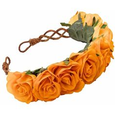 PENELOPE Oversized Floral Crown Headband in Orange (£36) ❤ liked on Polyvore featuring accessories, hair accessories, headbands, flower crowns, orange headband, floral headbands, boho flower headband, bohemian headbands and headband hair accessories