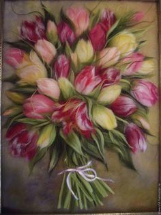 Купить Картина из шерсти Тюльпаны - разноцветный, интерьерное украшение, интерьерная композиция, интерьерная картина