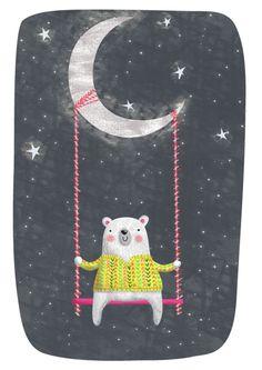Gina Lorena Maldonado - Bear On Swing Hanging From Moon - GM