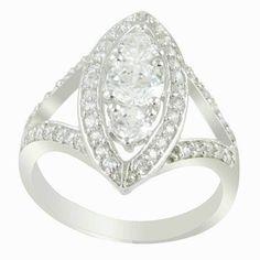American diamond & CZ White Gold Plated Ring Fashion Jewelry 7.0 US NO. 25841S