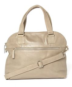 Gray Classic Leather Dome Satchel