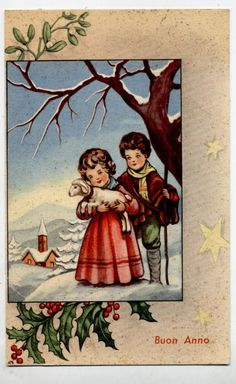 Amazing Merry Christmas Postcard with Childrens! We sell only high quality vintage postcards, no reproductions! Rare Vintage Postcard. An antique postcard with cute color illustration.