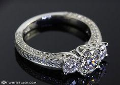 three stone engagement ring, clara ashley