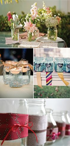 Mason jars & other recycled glass bottles -- love the top floral centerpiece