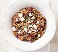 Orzo is a small pasta shape that looks like a grain of rice and has a velvety texture similar to risotto when cooked- try it out in this Italian-inspired dish