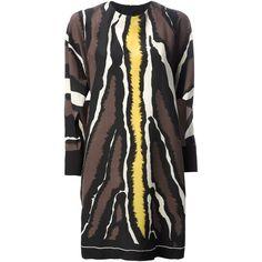 Fendi animal print shift dress (87.630 RUB) ❤ liked on Polyvore featuring dresses, black, cut out dress, animal print dress, long sleeve silk dress, shift dress and silk dress