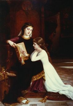 Autrefois (Long Ago). Signed and dated 1888. Emile Munier (1840-95). French Academic artist. Oil on canvas.  Munier entered the studio of William Bouguereau; as evidenced by the fact that in the Salon catalogue for 1872 he is now noted as being a student of not only Abel Lucas, but Bouguereau.  Over the years the two became close friends; Bouguereau even had a nickname for him - la sagesse (wisdom) or le sage Munier (Munier the wise).